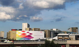 Olympics 2012 the Dow Chemical banner on the Westfield shopping centre. Photograph Mike Hewitt Getty Images