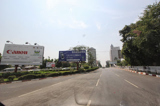 Samsumg and Canon Billboard in Yangon heading towards Traders Hotel