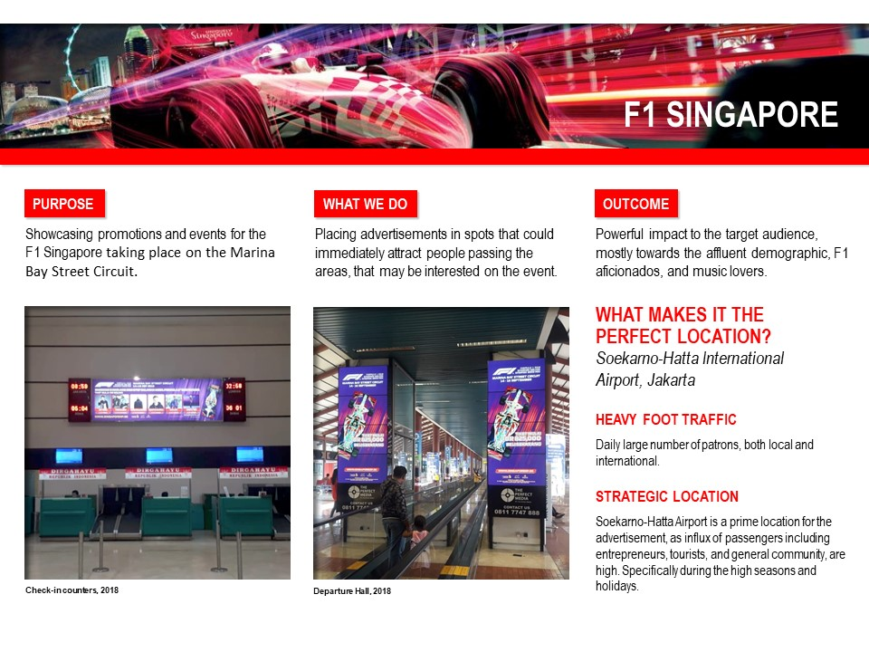 F1 Singapore in Jakarta Airport Advertising and Branding Creative
