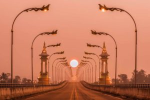 Laos Outdoor Advertising Scene Thai – Lao Friendship Bridge