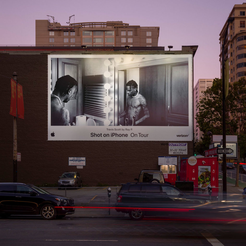 "Apple's ""Shot on iPhone on Tour"" billboard campaign featuring Travis Scott"