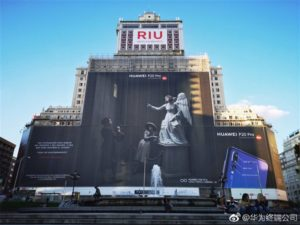 """Huawei's record-breaking """"The Future has come."""" billboard in Madrid, Spain"""