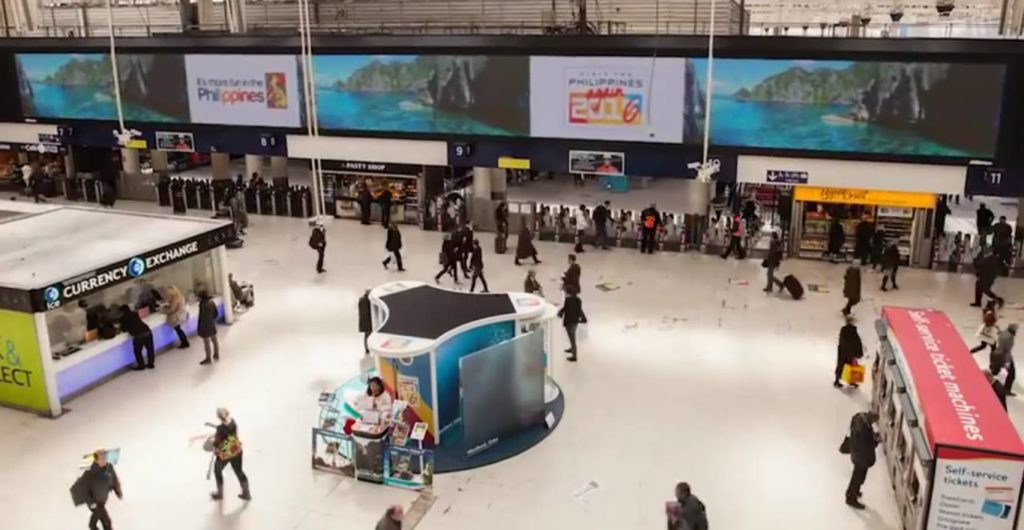 """It's More Fun in the Philippines"" arrives at London's Waterloo Station"