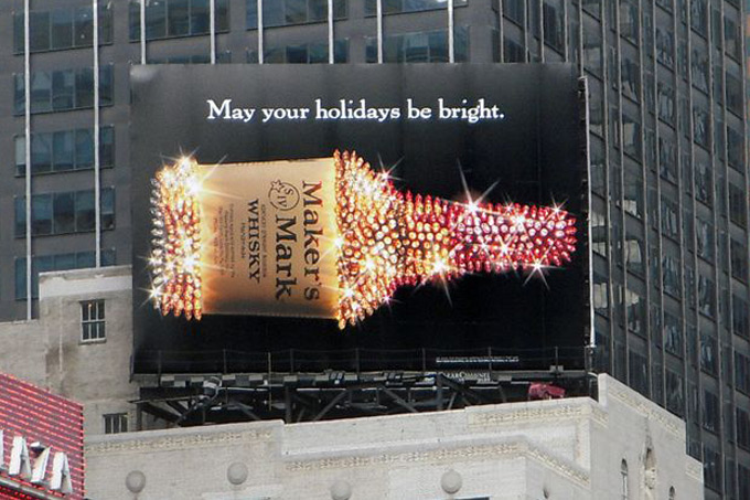 A bright and creative year-end billboard advertisement