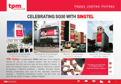 TPM Wishes You A Lovely Jubilee Holiday (SG50) Tallest Outdoor Advertising Billboard in Singapore Happy SG50 2