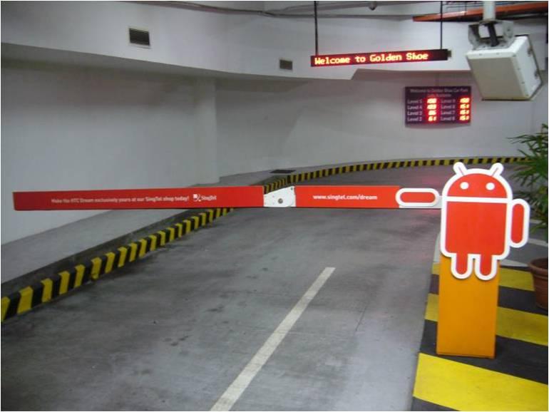Singtel Carpark Boomgates Display at Golden Shoe Singapore