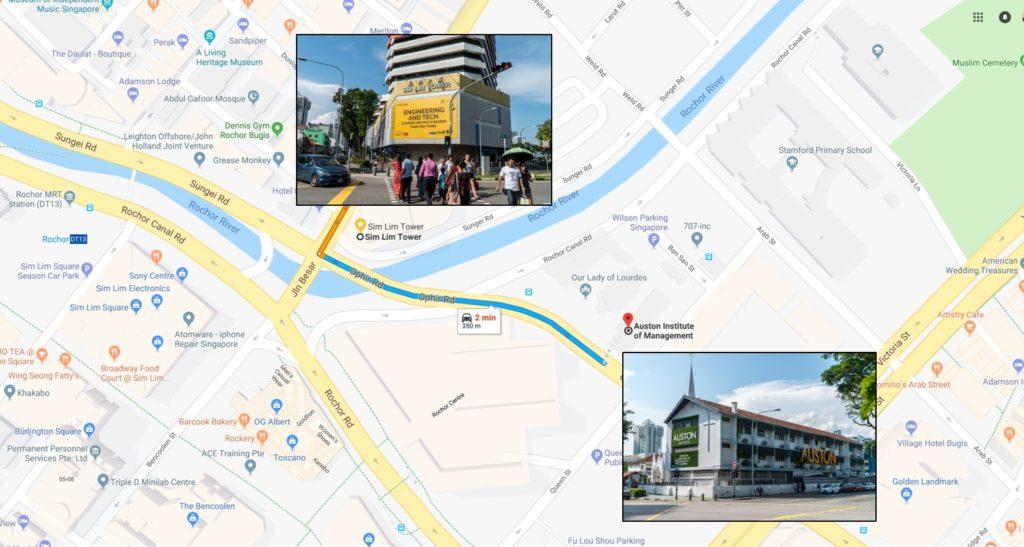 Sim Lim Tower to Auston Map 350m