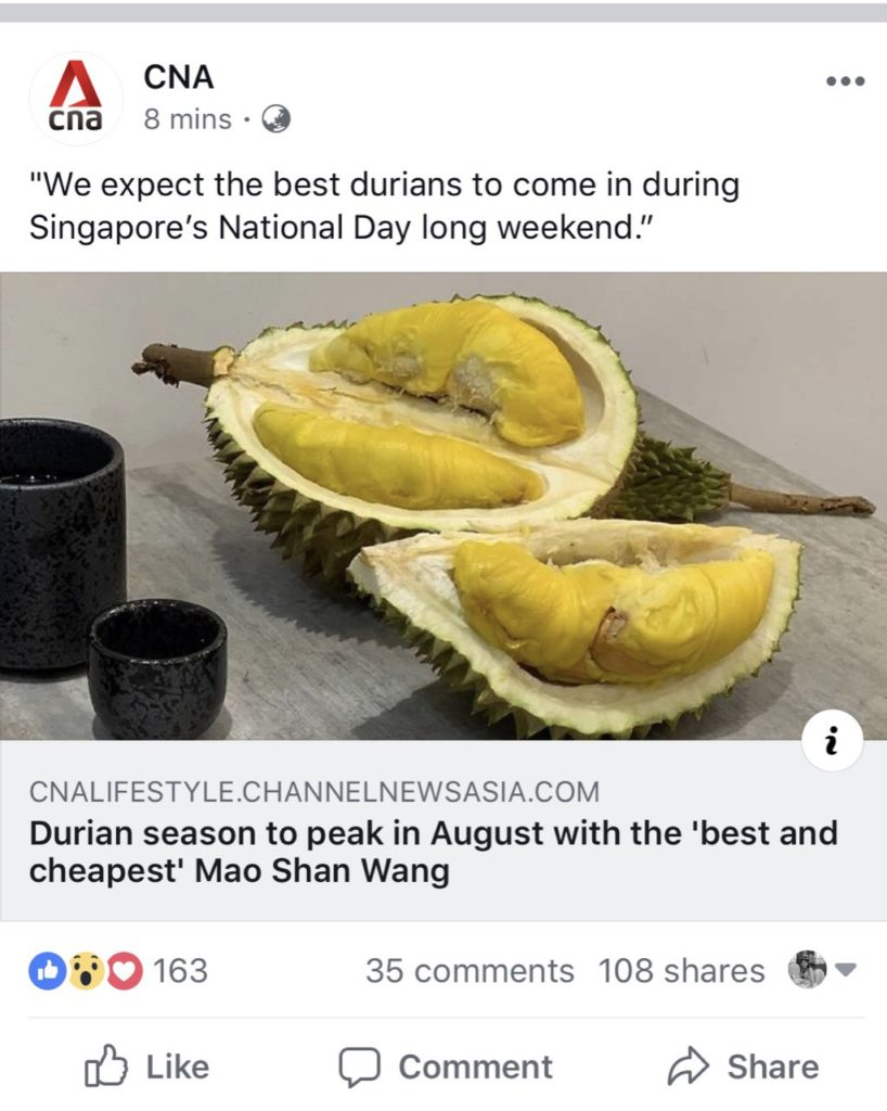 CNA News on Durian Season in August