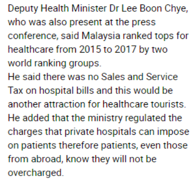 There are no additional taxes for hospital bills (Source: The Sundaily Malaysia)